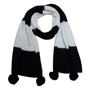 Lady Fashion Two Tone Acrylic Knitted Scarf with POM-Poms (YKY4172) pictures & photos