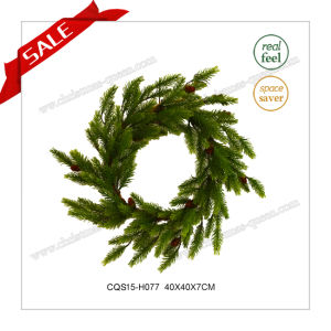 22 Inch ODM & OEM Plastic Artificial Christmas Wreath Decoration pictures & photos