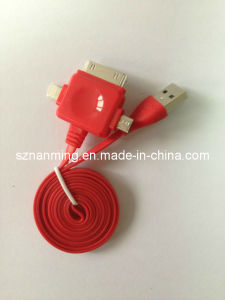 High Quality 3 in 1 Noodle Flat Charging USB Cable pictures & photos