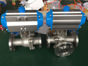 Pneumatic 3 Way Ball Valve Flange Connection pictures & photos