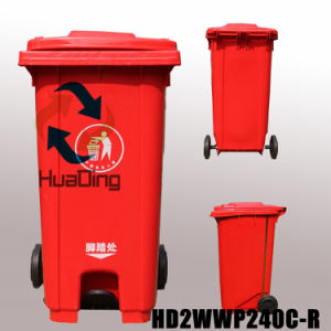 Plastic Garbage Bin Rubber Wheel Trash Can for Outdoor pictures & photos