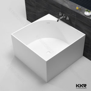 Artificial Stone Designer Bath, White Square Free Standing Bathtub pictures & photos