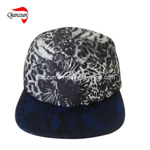 Dark blue Leather Brim Fashion 5 Panel Leisure Cap pictures & photos