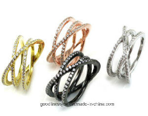 High Quality 925 Silver Ring Yellow Gold Plating CZ R0001py pictures & photos