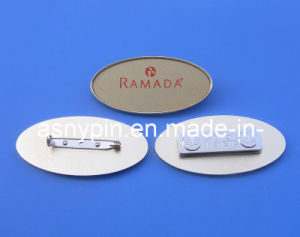 Oval Shape Metal Gold Hotel Name Tags pictures & photos