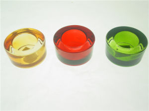 Round Clear Colorful Pressed Glass Tealight Candle Holder pictures & photos