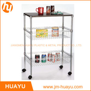 Chrome/ 3 Tiers Adjustable Wire Shelving Cart with Two Baskets and Wooden Workbench pictures & photos