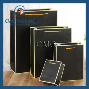 Black Paper Bag with White Border (DM-GPBB-076) pictures & photos