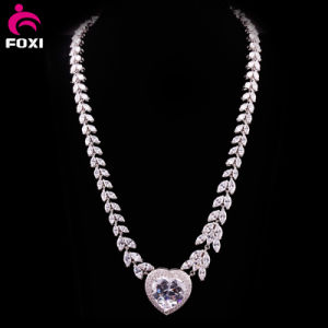 Luxury Zircon White Gold Wedding Necklace Design pictures & photos