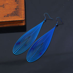 New Stainless Steel Colorful Hollow Long Water Drop Design Women′s Earrings pictures & photos