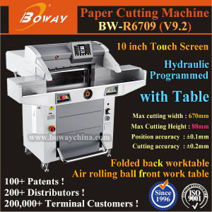 520mm 560mm 670mm Hydraulic Program Control Guillotine Automatic A3 A4 Size Book Paper Cutting Machine pictures & photos
