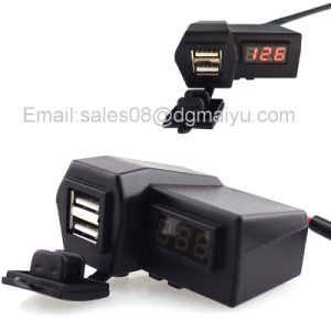 DC 12V/24V 3.1A Waterproof Motorcycle 2 in 1 Car Dual USB Charger with Digital Voltmeter & Switch Output for ATV Boat pictures & photos
