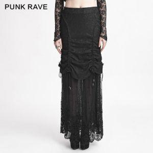Q-272 Halloween New Winter Women Long Black Net Mesh Lace Skirt pictures & photos