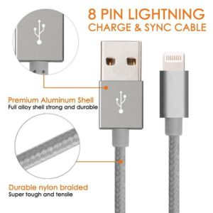 Lightning USB Data Cable (8 pin) Nylon Braided Extremely Extra Long Charging Cable pictures & photos