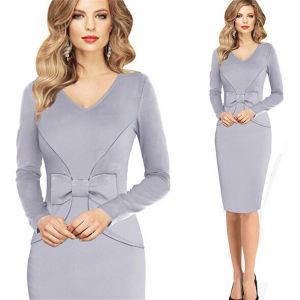 Womens Long Sleeve Slim Cocktail Party Evening Pencil Office Dress pictures & photos