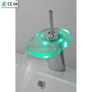 Brass and Glass Waterfall LED Basin Faucet (QH0802F) pictures & photos