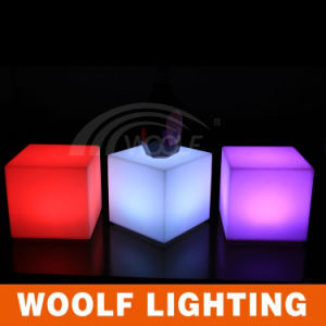 Cheap LED Light up Plastic Kids Cube Chairs pictures & photos