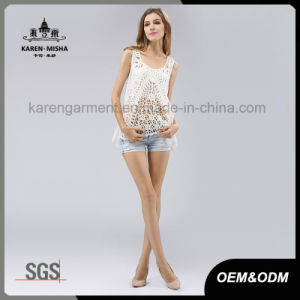 Lace Flower Crochet Vest with Scallop Hem for Women pictures & photos
