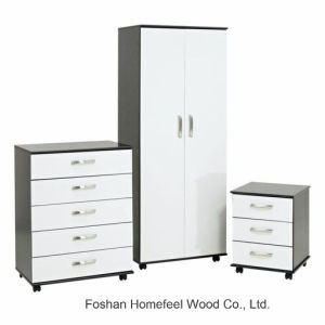 Modern High Gloss 3PCS Bedroom Wardrobe Closet Sets with Wheels pictures & photos