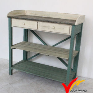 Antique Country Style Reclaimed Drawer Metal Top Old Garden Wooden Table pictures & photos
