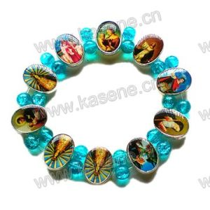 Fashion Metal Catholic Rosary Bracelet with Blue Glass Beads on Elastic pictures & photos