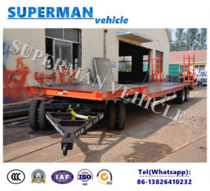 3 Axle Lowdeck Lowbody Drawbar Full Dolly Trailer/ Lowbed Semi Trailer pictures & photos