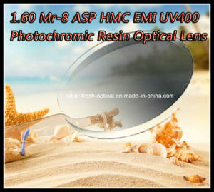 1.60 Mr-8 Asp Hmc EMI UV400 Photochromic Resin Optical Lens