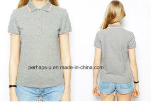 Cotton Pique Grey Ladies Polo T-Shirt pictures & photos