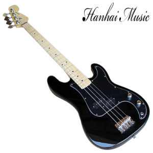 Hanhai Music / Black 4 Strings Electric Bass Guitar with Black Pickguard pictures & photos