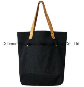 Fashion Personalized Custom Black Cotton Canvas Leather Handle Tote Bag pictures & photos