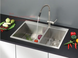 32X20 Inch Stainless Steel Top Mount Equal Double Bowl Handmade Kitchen Sink pictures & photos