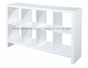 Modern Wooden UV High Gloss White Bookcase (4X2 bookcase)