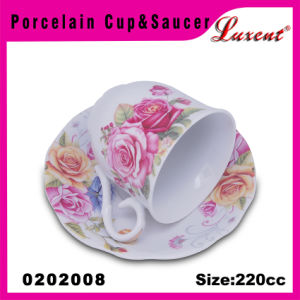 Porcelain Econormic Kitchen European Microwave Oven Safe Cup and Saucer pictures & photos