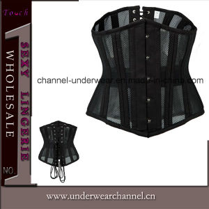 Sexy Women Leather Bodysuit with Skirt Lingerie Corset (TA9192) pictures & photos