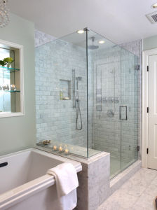 Tempered Glass Shower Door with Stainless Steel Accessories pictures & photos