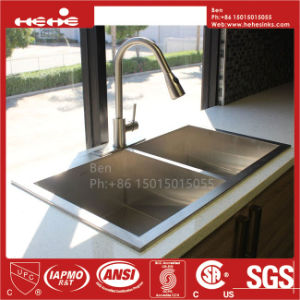 """32""""X19"""" Stainless Steel Top Mount Equal Double Bowl Handmade Kitchen Sink pictures & photos"""