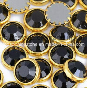 DMC Hotfix Rhinestone Ss16 4mm Black Aluminun Rim Hot Fix Stones with Glue for Dress (SS16 Jet/A Grade) pictures & photos