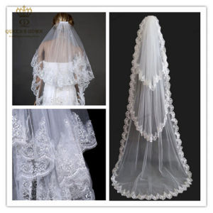 Long Section of The Three-Tier Lace Bridal Veil (V002)