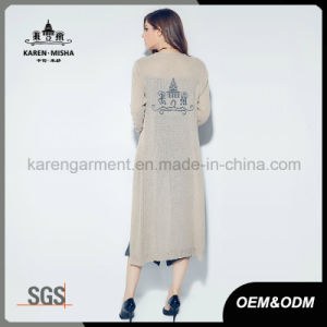 Customized Logo Pattern Women Stylish Knitted Long Cardigan pictures & photos
