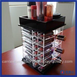 Fashionable Black Rotating Acrylic Lipstick Stand with 48 PCS pictures & photos