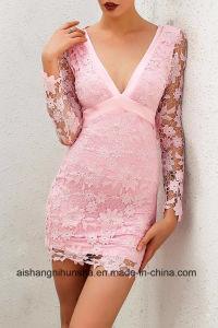 Women Deep V-Neck Long Sleeve Lace Floral Dress pictures & photos