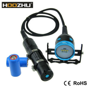 Hoozhu Hv33 Canister Diving Video Light Four Color Light Max 4000lm Underwater 100m Diving Light LED Flashlight pictures & photos
