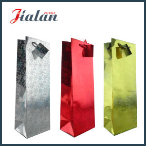 Holographic Laminated Art Paper Wine Bottle Shopping Gift Paper Bag pictures & photos