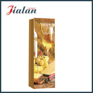 Glossy Laminated Ivory Paper Grape Wine Bottle Gift Paper Bag pictures & photos
