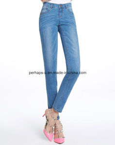 High Quality Women Clothes Light Blue Casual Slim Denim Jeans pictures & photos
