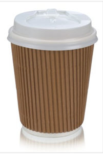 8oz Disposable Kraft Ribbed Ripple Paper Cups