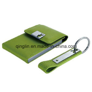 Custom Green Card Holder and Keychain Gift Set (QL-TZ-0087) pictures & photos