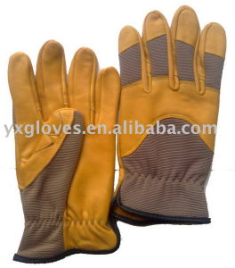 Yellow Leather Glove-Grain Leather Glove-Industrial Glove-Work Glove-Gloves pictures & photos