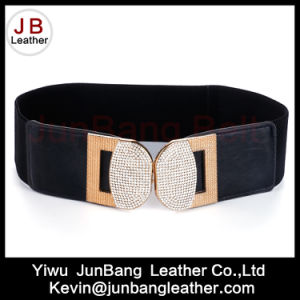 Fashion Ladies Waist Elastic Waist Belt with Rhinestone Buckle pictures & photos
