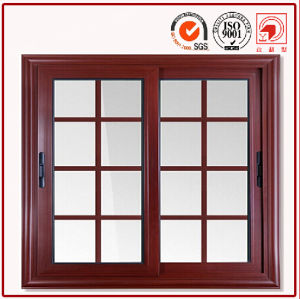 Wood Grain Aluminium Windows with Double Glass pictures & photos